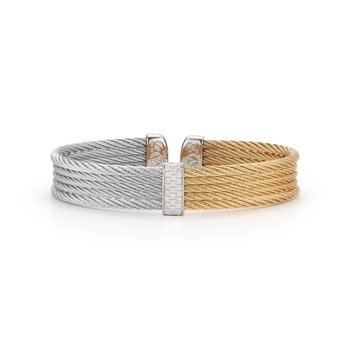 Grey & Yellow Cable Mini Cuff with 18kt White Gold & Diamonds
