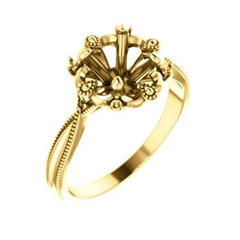 18K Yellow 6.5 mm Round Engagement Ring Mounting