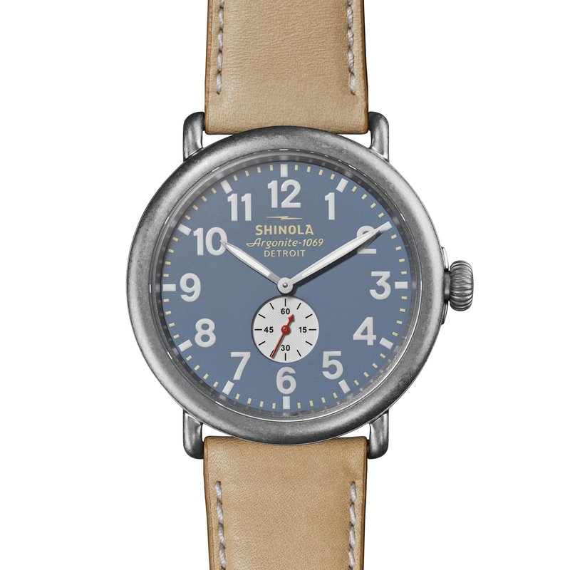 Shinola The Runwell 47mm Sub Second Hand Blue Dial Leather Strap Watch