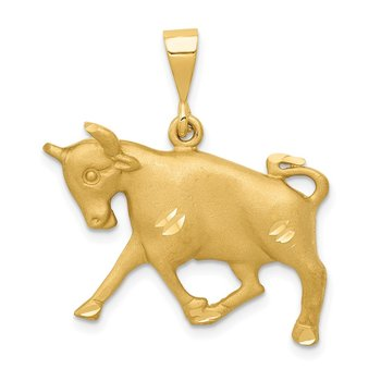 14k Satin Diamond-cut Taurus Zodiac Charm
