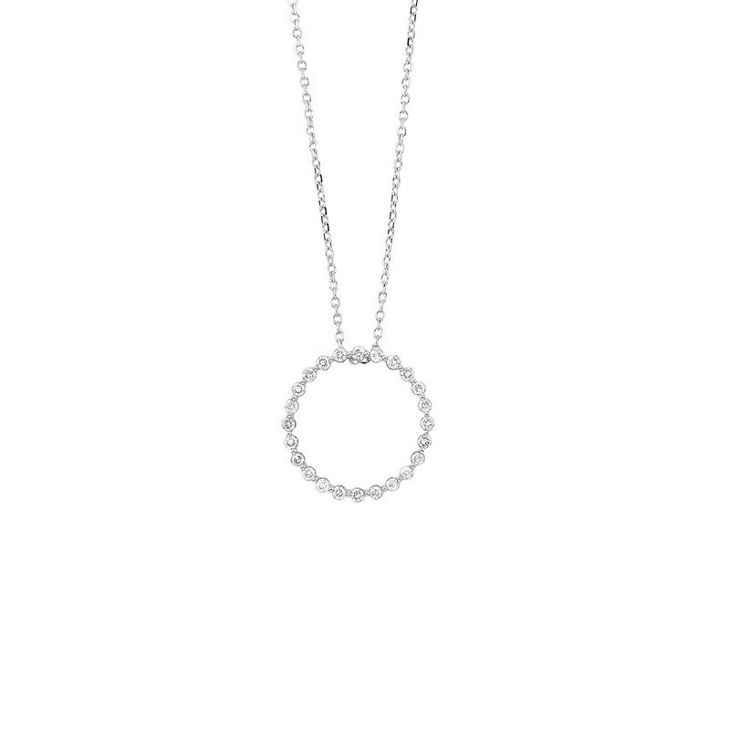 Gems One Diamond Eternity Circle Floating Pendant Necklace in 14k White Gold (1/4ctw)
