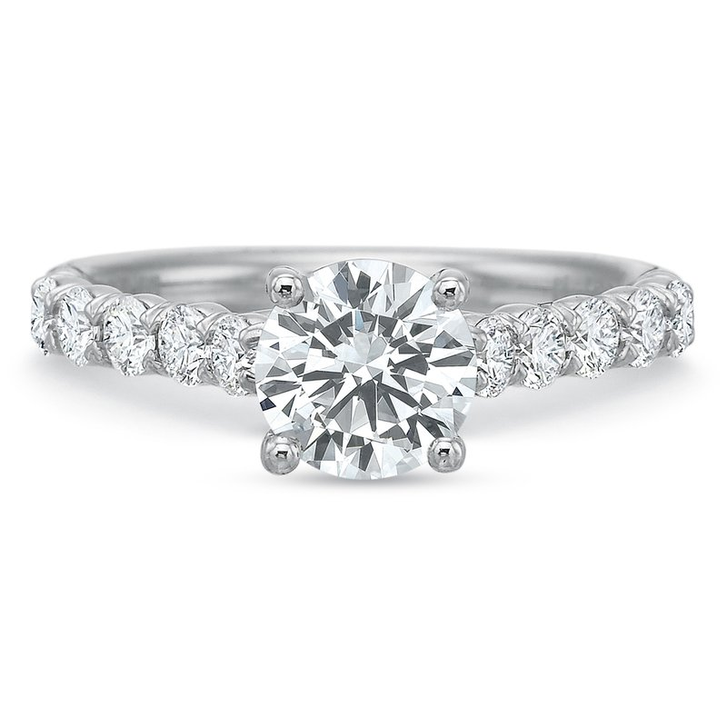 Precision Set 18K white gold semi mount for 1.00-3.00 ct center