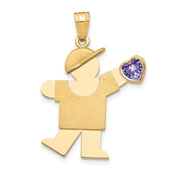 14k Boy with CZ June Birthstone Charm