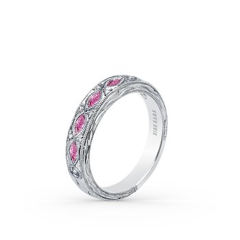 Pink Sapphire Diamond Engraved Wedding Band