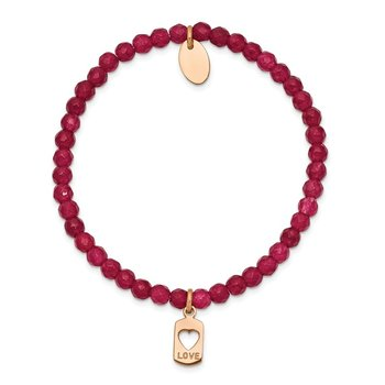 Stainless Steel Polished Rose IP-plated LOVE Red Jade Stretch Bracelet