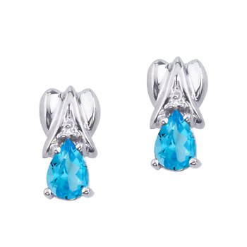14k White Gold Blue Topaz and Diamond Pear Shaped Earrings
