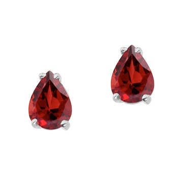 14k White Gold Pear Shaped Garnet Earrings