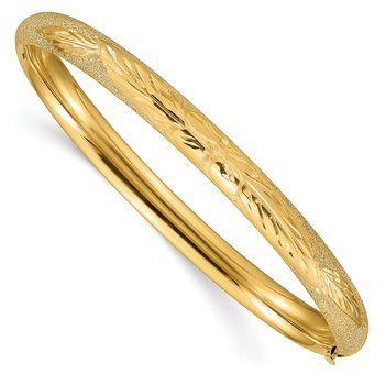 14k 4/16 Oversized Laser Cut Hinged Bangle Bracelet