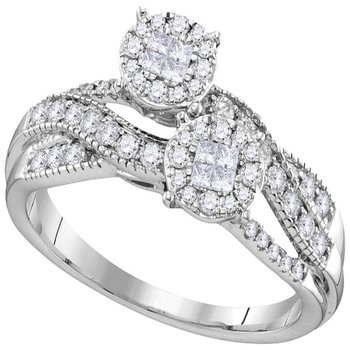 14kt White Gold Womens Princess Round Diamond Soleil Cluster Bridal Wedding Engagement Ring 1/2 Cttw