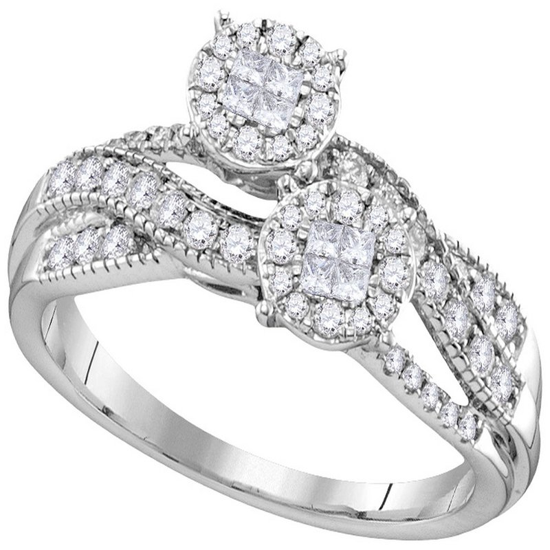 Gold-N-Diamonds, Inc. (Atlanta) 14kt White Gold Womens Princess Round Diamond Soleil Cluster Bridal Wedding Engagement Ring 1/2 Cttw