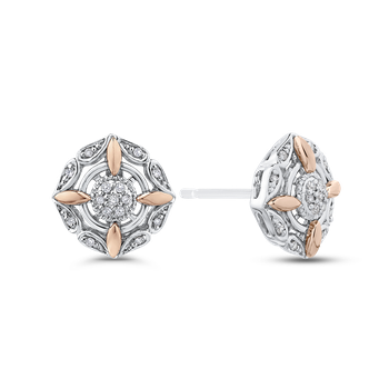 10K White & Rose Gold 1/10 Ct Diamond Fashion Earrings