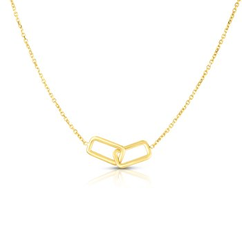 14K Gold Interlocking Rectangles Necklace