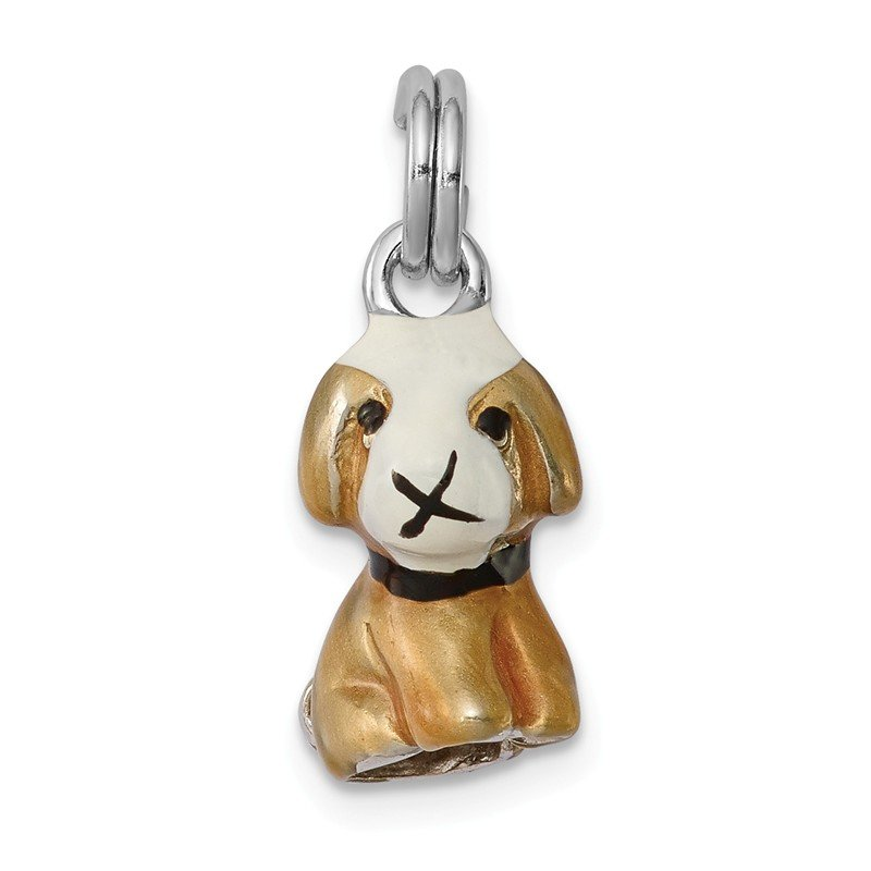 Quality Gold Sterling Silver Rhodium-platedEnamel Dog Charm