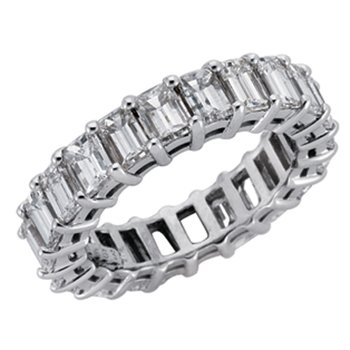 Plat Emerald Cut Eernity Band