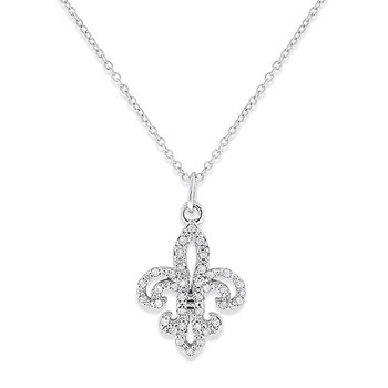 Diamond Fleur Di Lis Necklace in 14k White Gold with 36 Diamonds weighing .12ct tw.