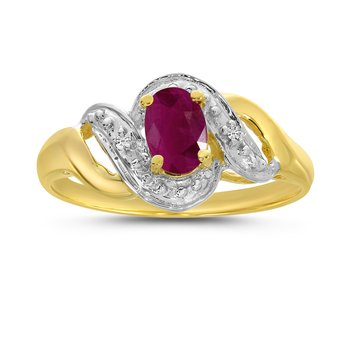 10k Yellow Gold Oval Ruby And Diamond Swirl Ring