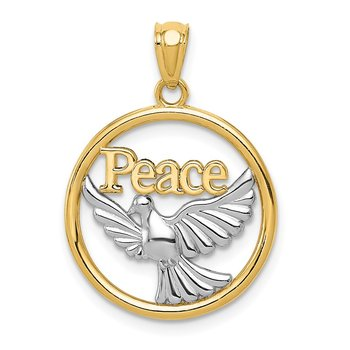 14K w/Rhodium Polished Peace Dove Pendant