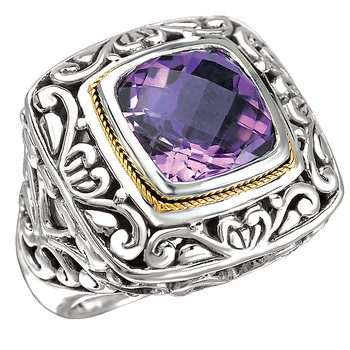 18K/SILVER AMETHYST CUSHION   CUT RING AM-11.5MM