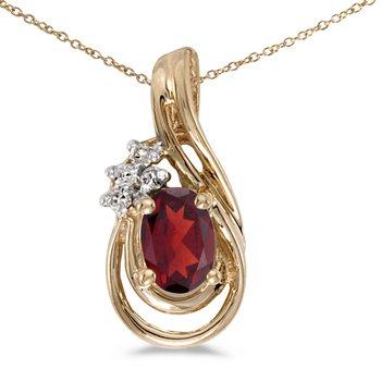 10k Yellow Gold Oval Garnet And Diamond Teardrop Pendant
