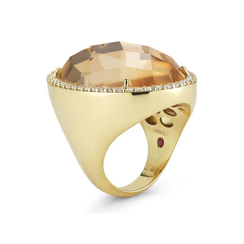 Roberto Coin Ring with Diamonds and Crystal