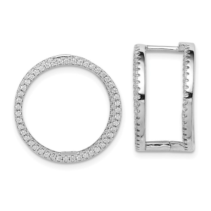 Quality Gold Sterling Silver Rhodium-plated CZ Circle Hinged In/Out Earrings