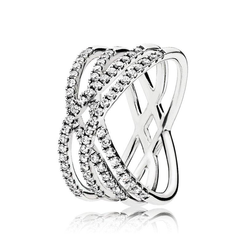 Pandora Cosmic Lines Ring, Clear Cz