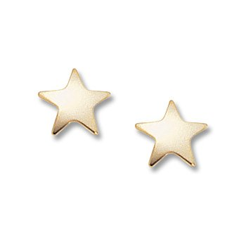 14kt Yel Flat Star Post Earrings