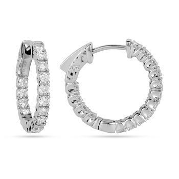 14K WG Diamond Inside Out Hoop Earring 4 Prong
