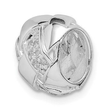 Sterling Silver Rhodium Plated CZ Slide