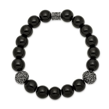 Stainless Steel Antiqued and Polished Black Agate Beaded Stretch Bracelet