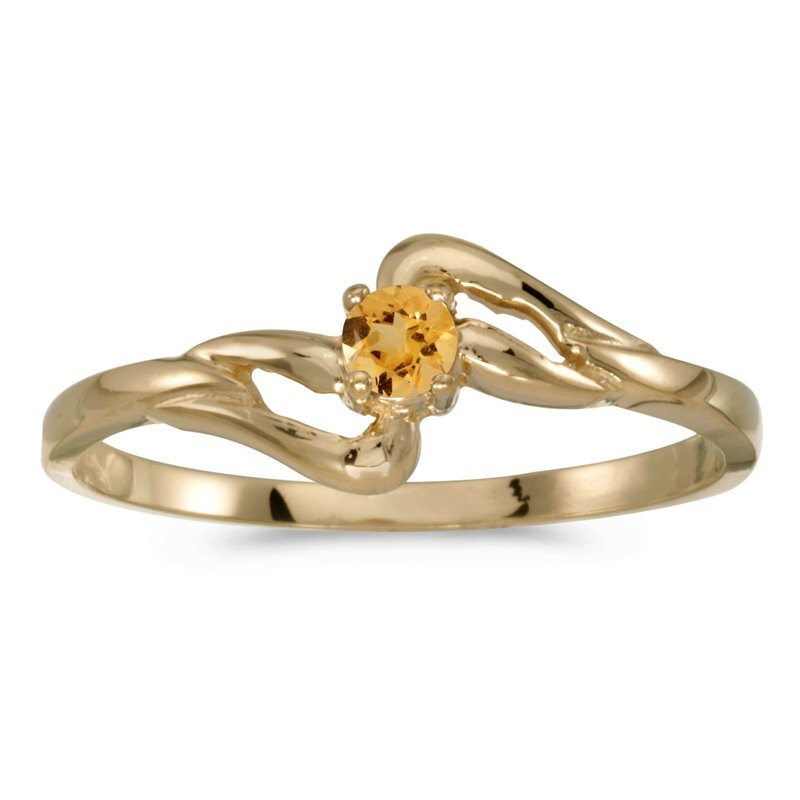 Color Merchants 14k Yellow Gold Round Citrine Ring