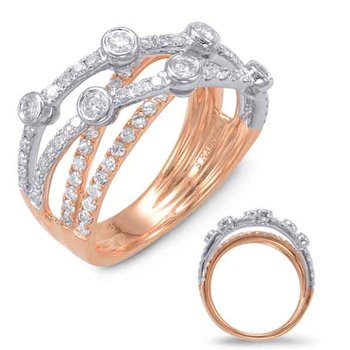 White & Rose Gold Diamond Fashion Ring