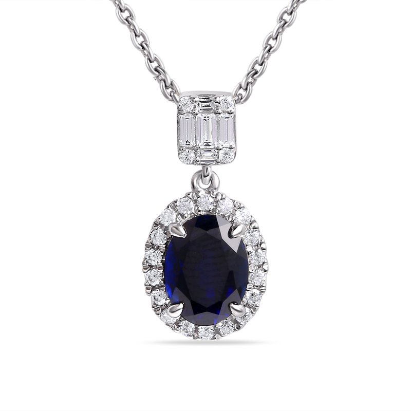Shula NY 14K Oval Sapphire Pendant 1.50CT  Framed by  0.18CT round Diamonds ,And one Baguette  .11CT