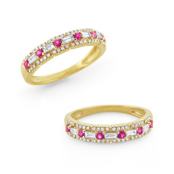 Pink Sapphire & Diamond Band Set in 14 Kt. Gold