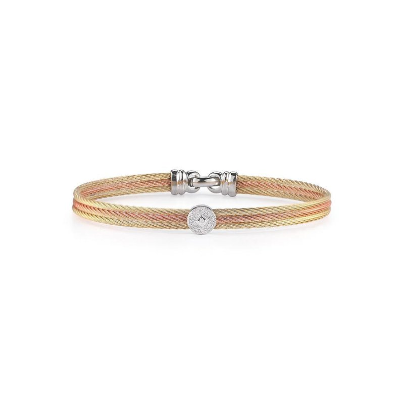 ALOR Rose & Yellow Cable Classic Stackable Bracelet with Single Round Station set in 18kt White Gold