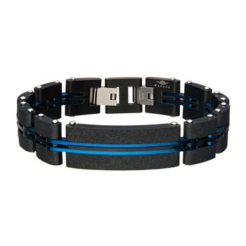 Steel Brushed Black Plated and Blue Plated Link Bracelet
