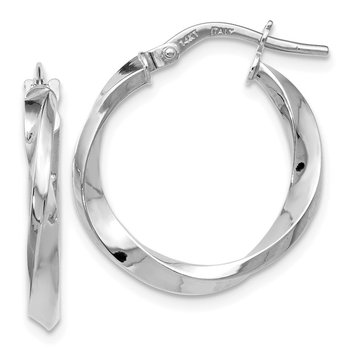 Leslie's 14k White Gold Polished Twisted Hoop Earrings