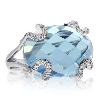 14k White Gold Blue Topaz and Diamond Fashion Ring