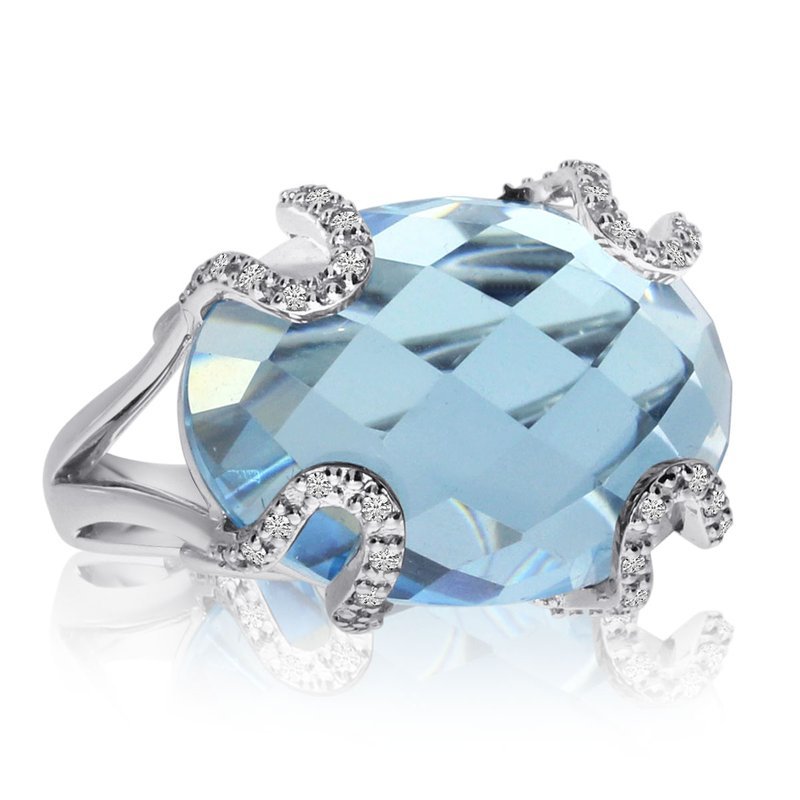 Color Merchants 14k White Gold Blue Topaz and Diamond Fashion Ring
