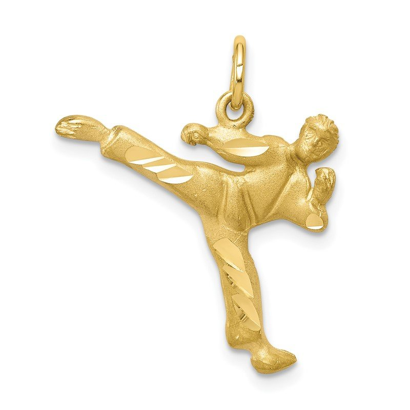 Quality Gold 10k Solid Karate Person Charm