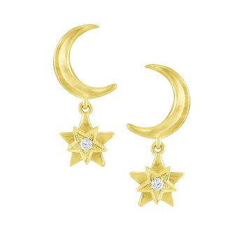 Gold and Diamond Moon and Star Earrings