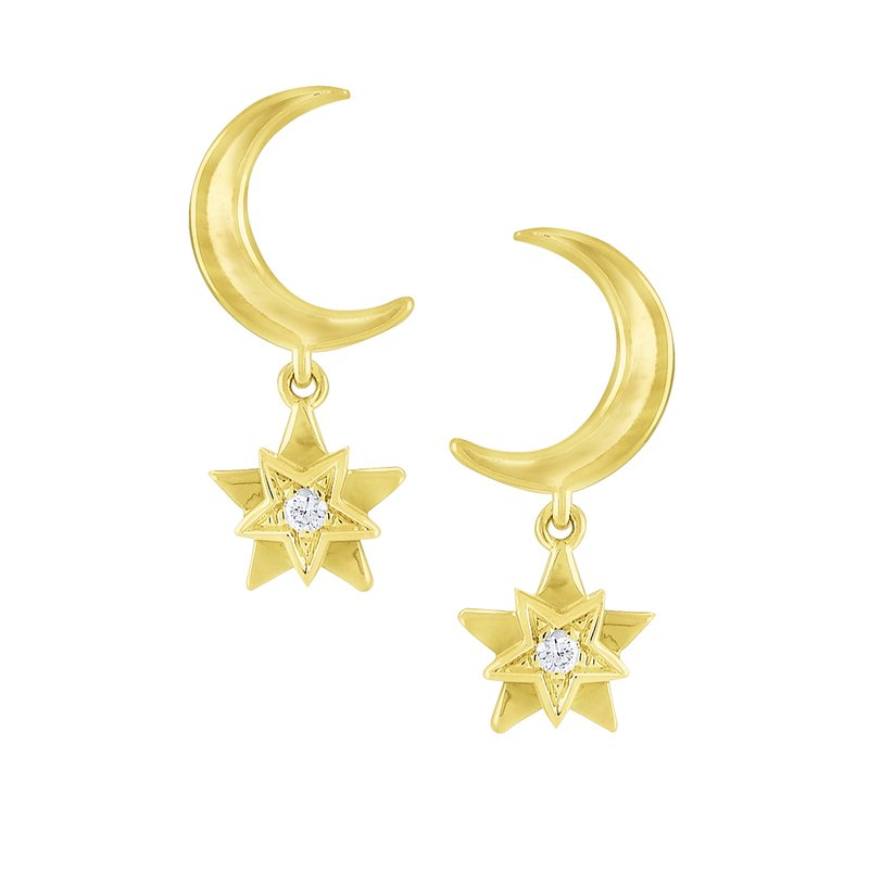 KC Designs Gold and Diamond Moon and Star Earrings