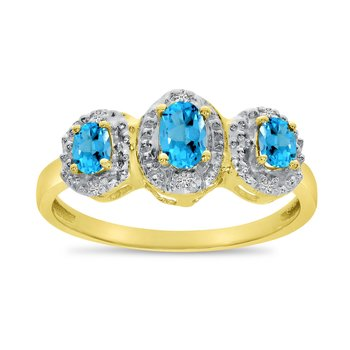 14k Yellow Gold Oval Blue Topaz And Diamond Three Stone Ring