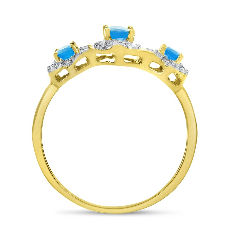 Color Merchants 14k Yellow Gold Oval Blue Topaz And Diamond Three Stone Ring