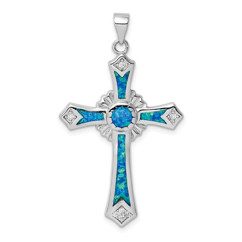 Quality Gold Sterling Silver Rhodium-plated Created Blue Opal / CZ Cross Pendant