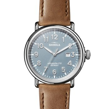 The Runwell 47mm Blue Dial Stainless Leather Strap Watch