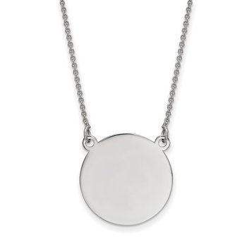 14k White Gold .027 Gauge Circular Engravable Disc 18 Necklace