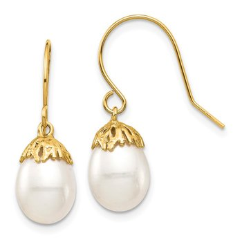 14K 7-8mm White Rice Freshwater Cultured Pearl Dangle Earrings