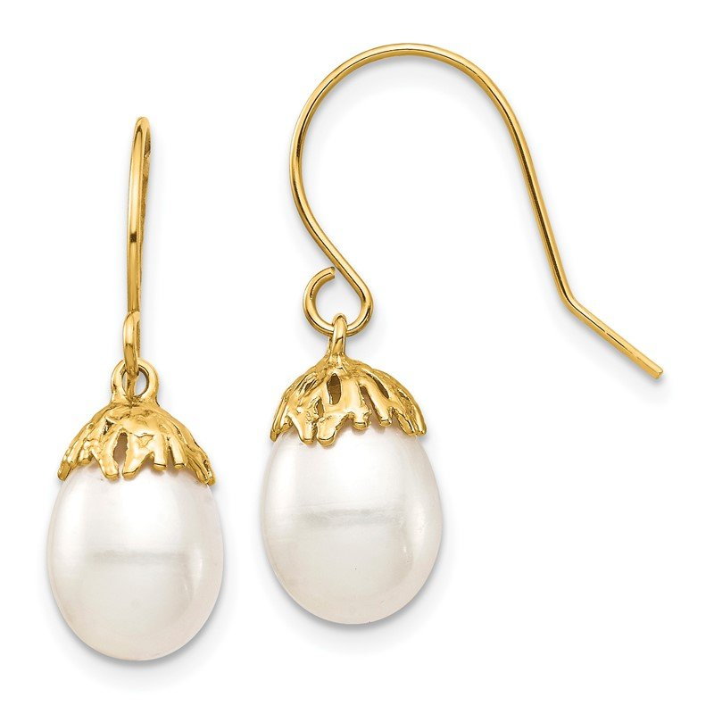 Quality Gold 14K 7-8mm White Rice Freshwater Cultured Pearl Dangle Earrings