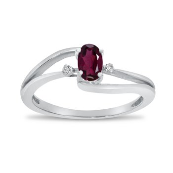 14k White Gold Oval Rhodolite Garnet And Diamond Wave Ring